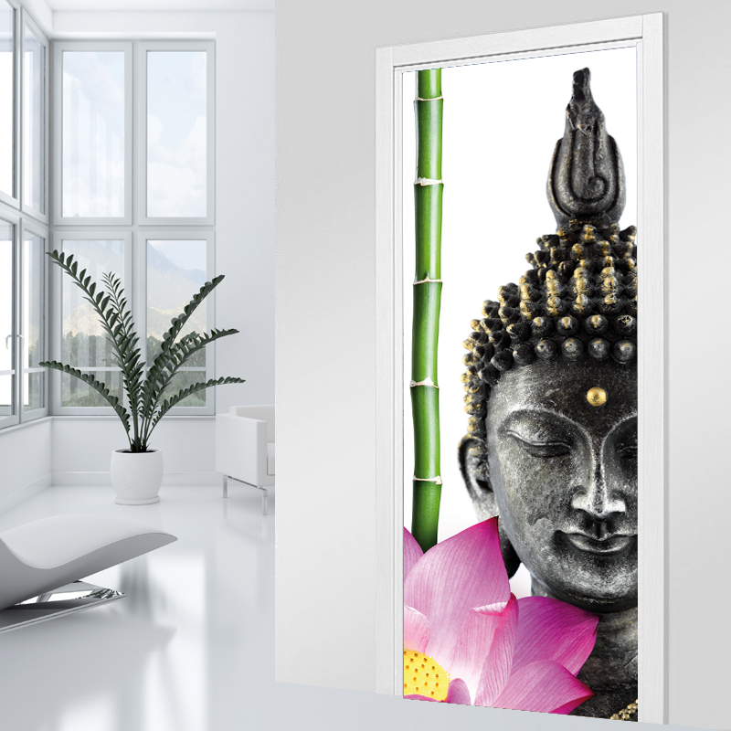 stickers porte bouddha zen pas cher. Black Bedroom Furniture Sets. Home Design Ideas