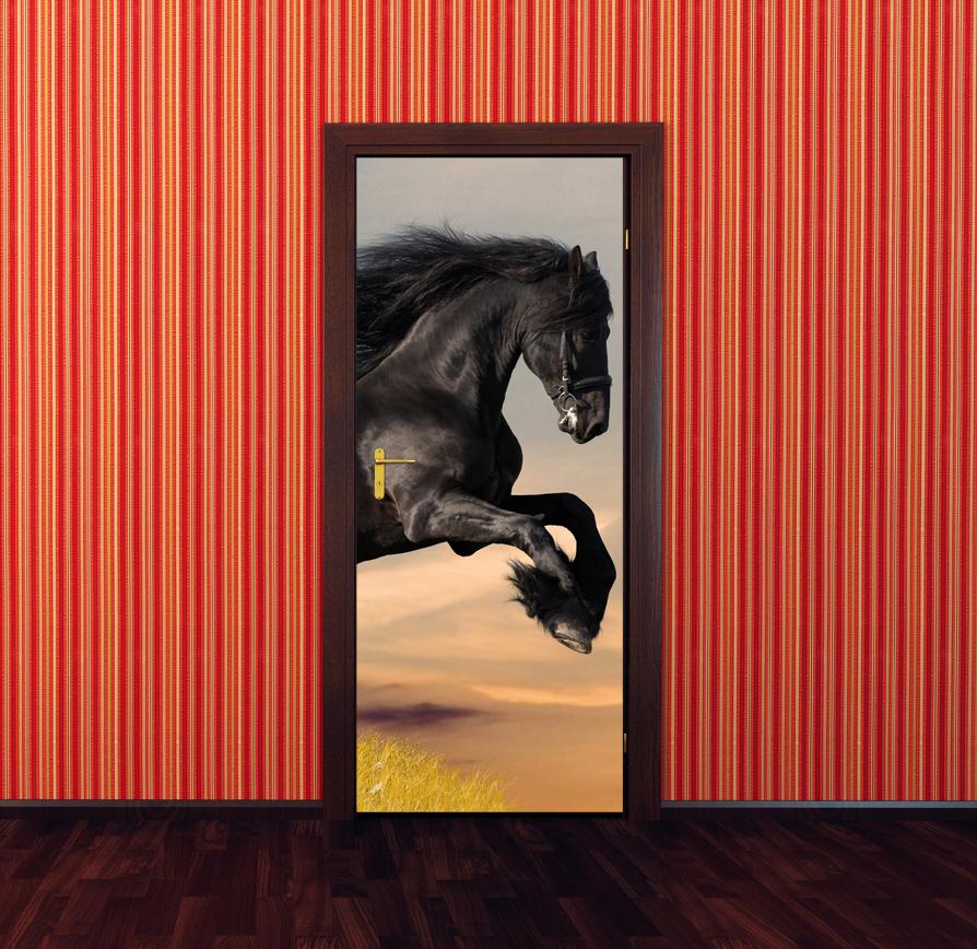 stickers porte cheval pas cher. Black Bedroom Furniture Sets. Home Design Ideas