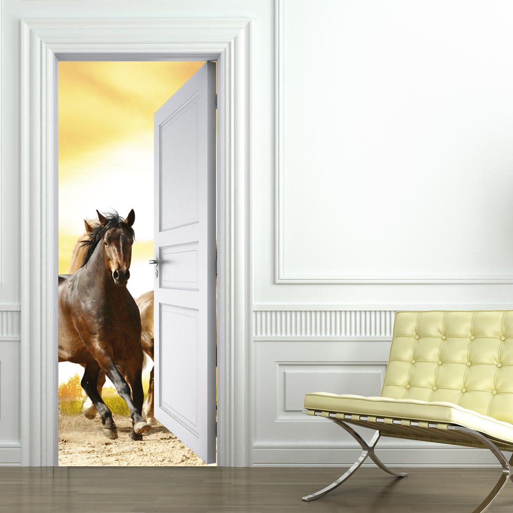stickers porte cheval pas cher. Black Bedroom Furniture Sets. Home Design Ideas