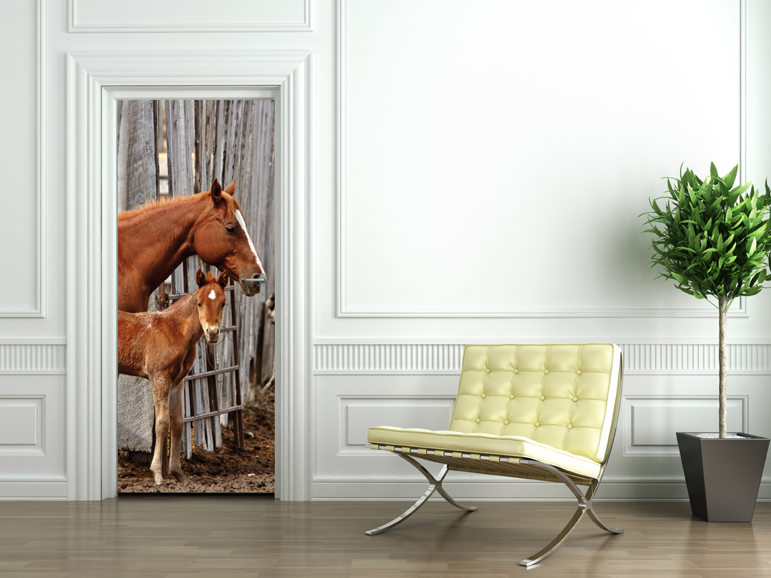 Stickers porte chevaux pas cher for Decoration chambre cheval