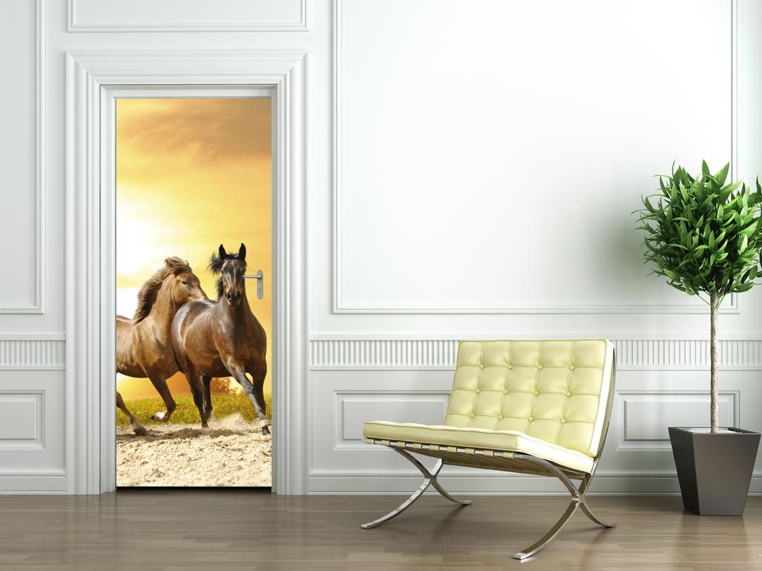 Stickers porte chevaux pas cher - Papier peint chevaux pour chambre ...