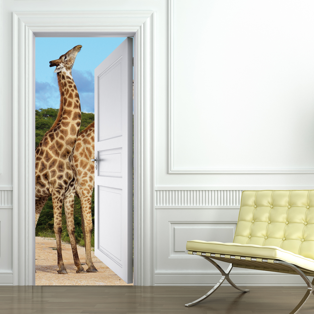 stickers porte girafes pas cher. Black Bedroom Furniture Sets. Home Design Ideas