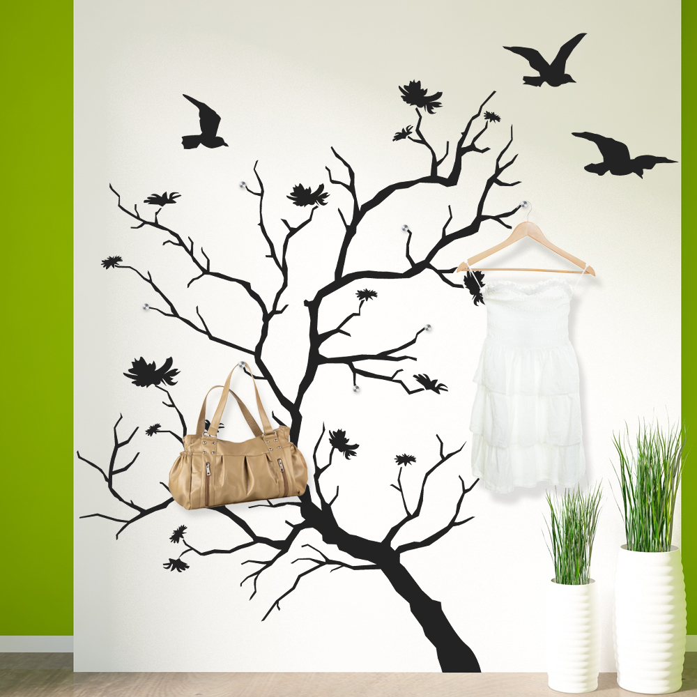 stickers porte manteau arbre oiseaux pas cher. Black Bedroom Furniture Sets. Home Design Ideas