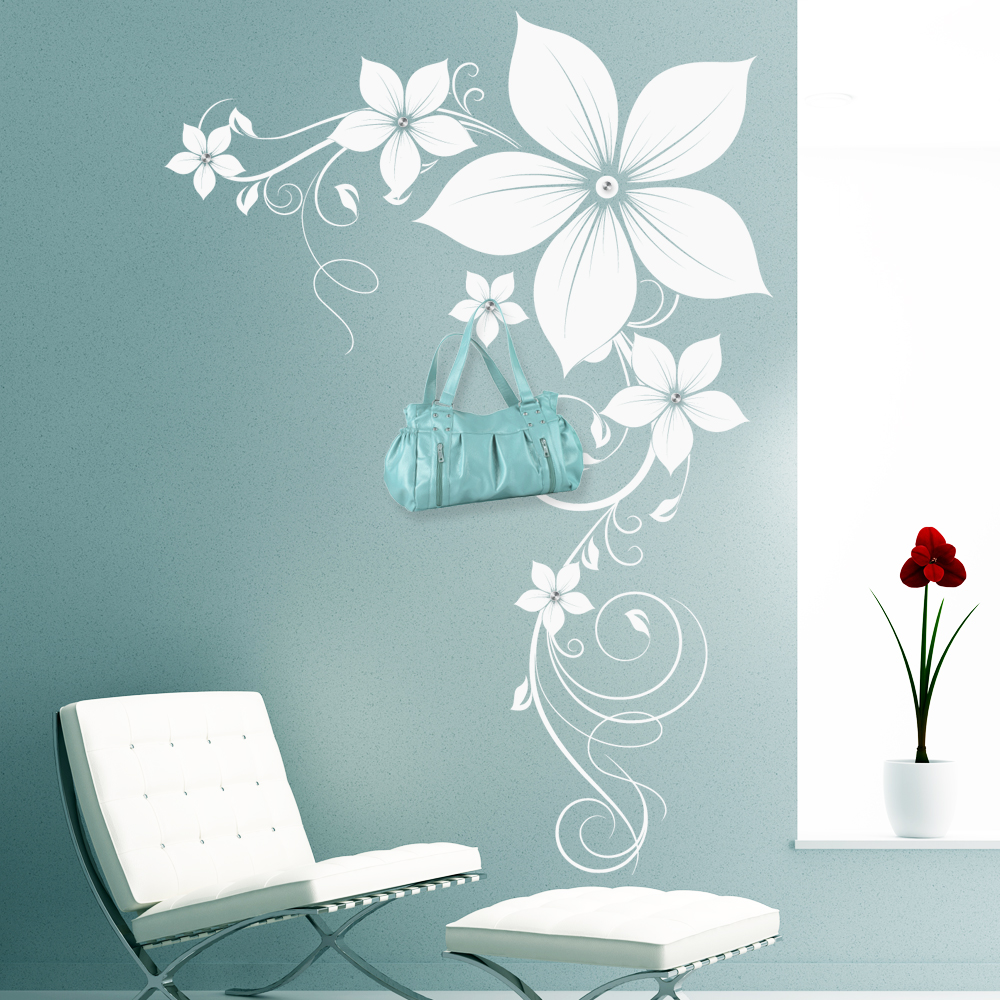 stickers porte manteau fleur pas cher. Black Bedroom Furniture Sets. Home Design Ideas