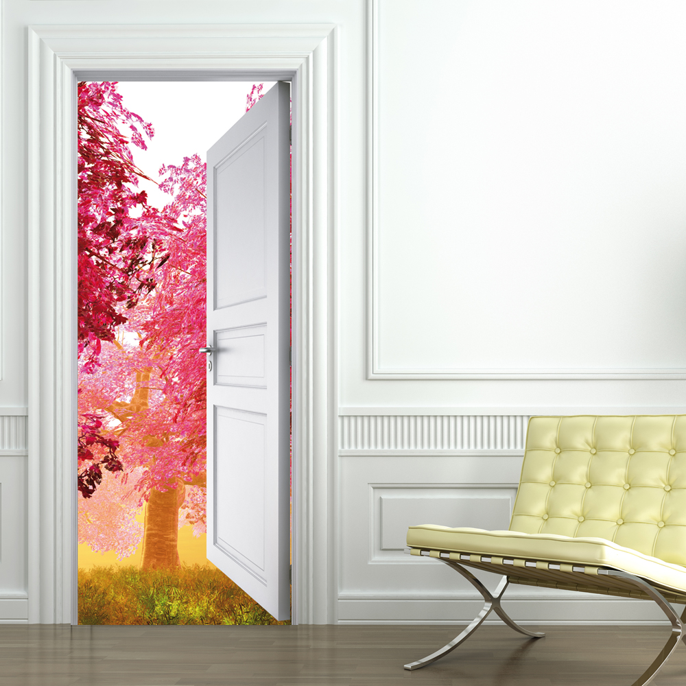 Stickers porte nature pas cher for Decoration porte interieure poster sticker