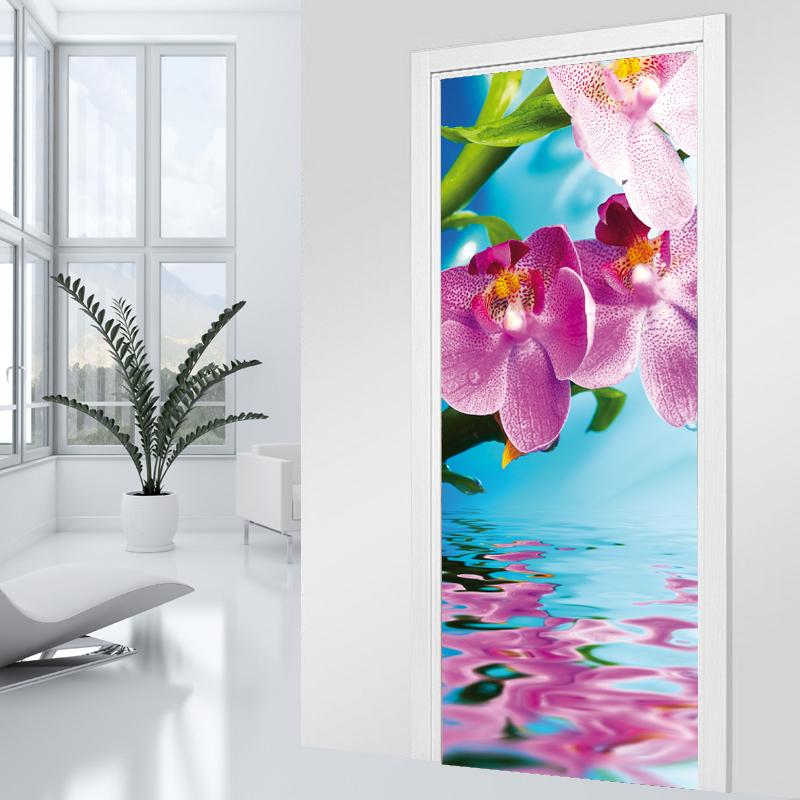 stickers porte orchid e 4 pas cher. Black Bedroom Furniture Sets. Home Design Ideas