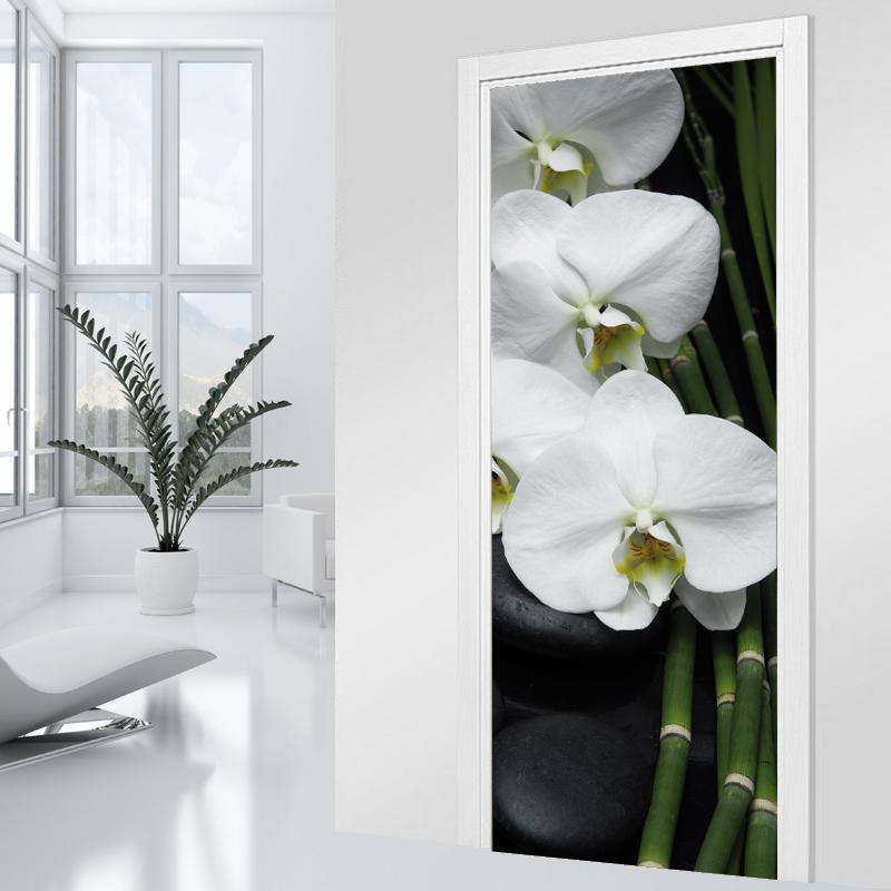 stickers porte orchid e blanche pas cher. Black Bedroom Furniture Sets. Home Design Ideas