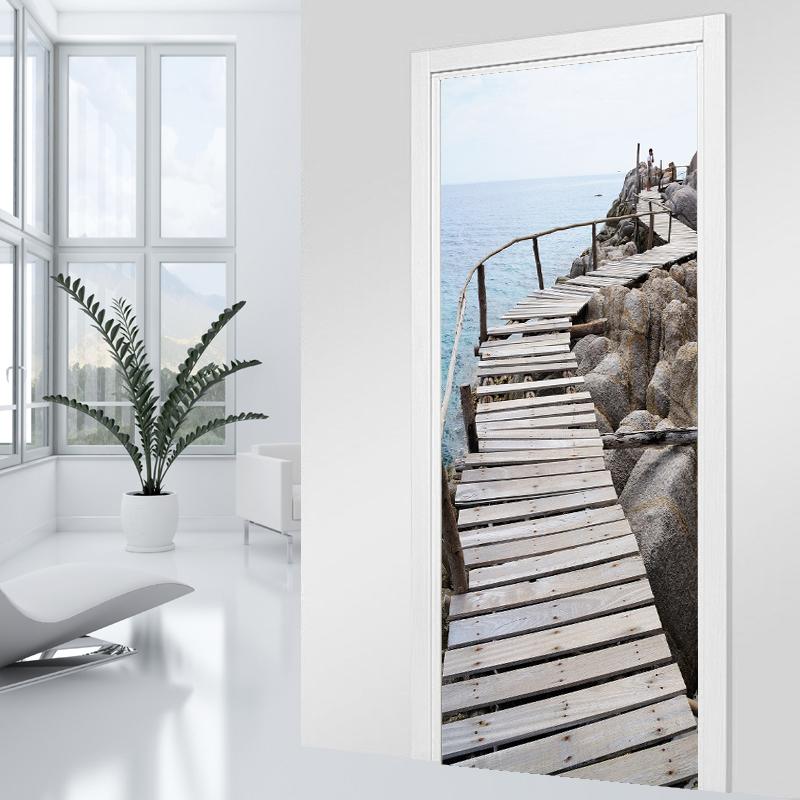 stickers porte ponton bois 2 pas cher. Black Bedroom Furniture Sets. Home Design Ideas