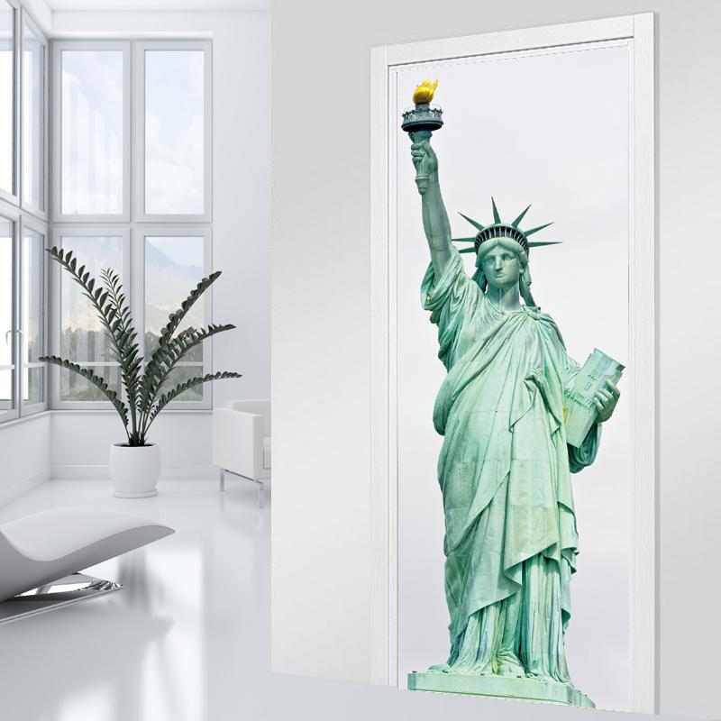 stickers porte statut de la libert pas cher. Black Bedroom Furniture Sets. Home Design Ideas
