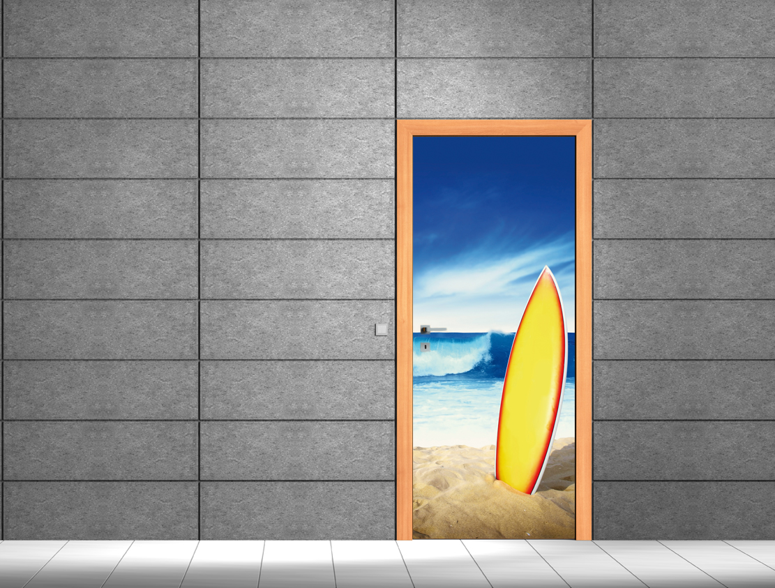 stickers porte surf pas cher. Black Bedroom Furniture Sets. Home Design Ideas