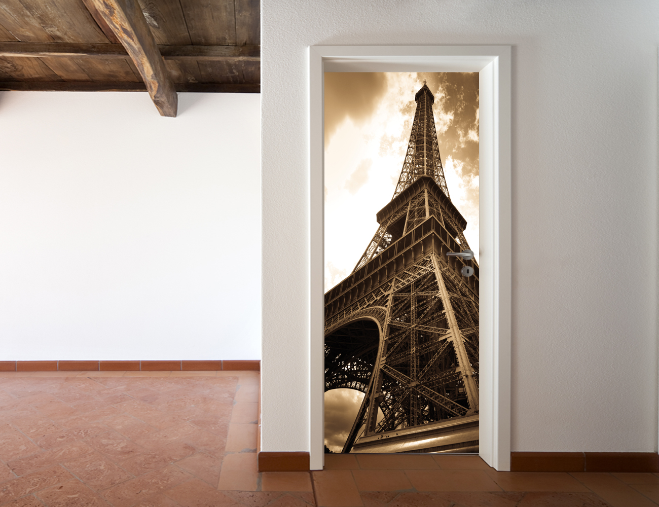 stickers porte tour eiffel pas cher. Black Bedroom Furniture Sets. Home Design Ideas