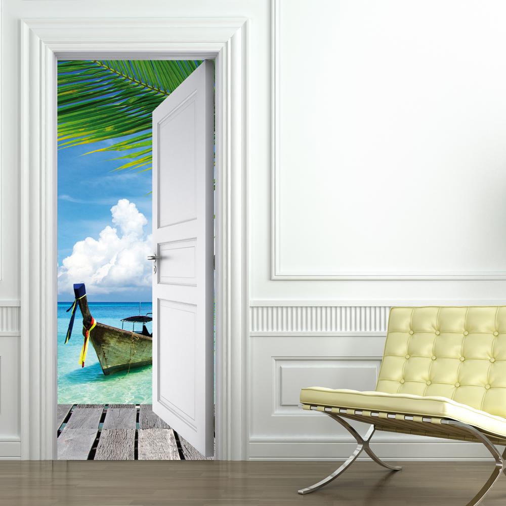 stickers porte tropiques pas cher. Black Bedroom Furniture Sets. Home Design Ideas