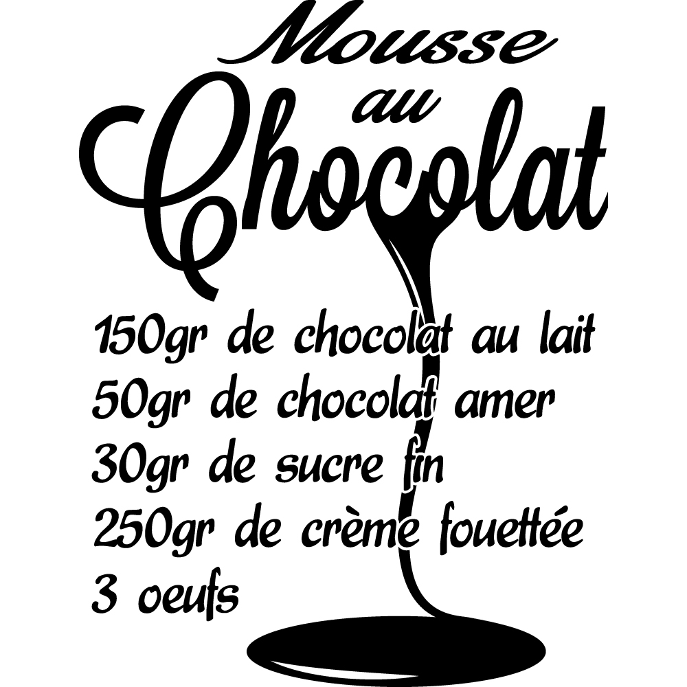 stickers recette mousse au chocolat 2 pas cher. Black Bedroom Furniture Sets. Home Design Ideas