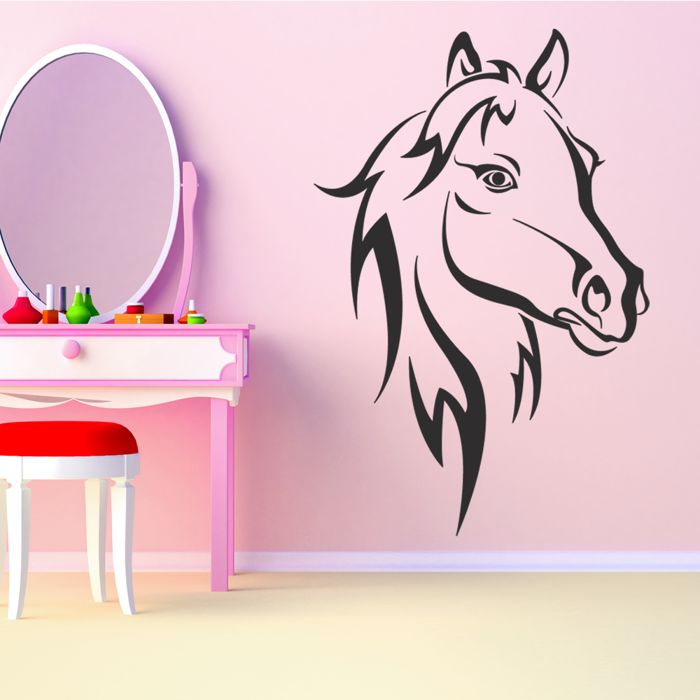 stickers muraux cheval. Black Bedroom Furniture Sets. Home Design Ideas