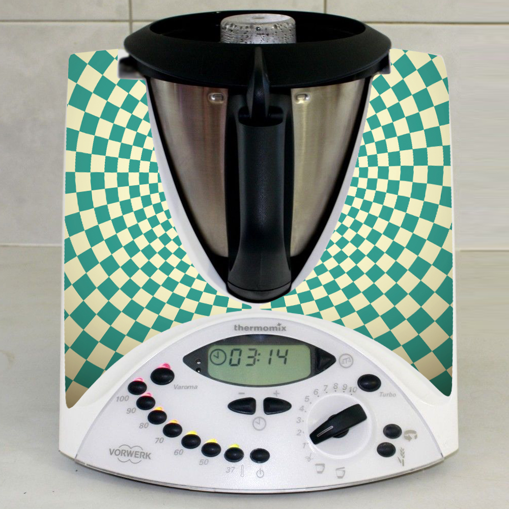 stickers thermomix tm 31 damier turquoise pas cher. Black Bedroom Furniture Sets. Home Design Ideas