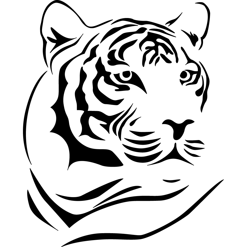 Tiger Line Drawing Easy : Stickers tigre pas cher