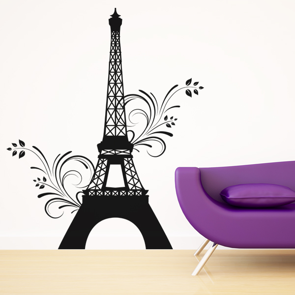 stickers tour eiffel fleur pas cher. Black Bedroom Furniture Sets. Home Design Ideas