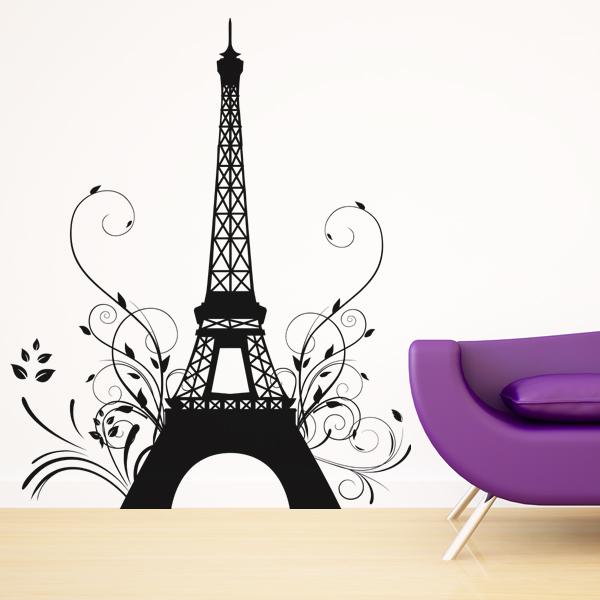 stickers tour eiffel fleur pas cher. Black Bedroom Furniture Sets. Home Design Ideas