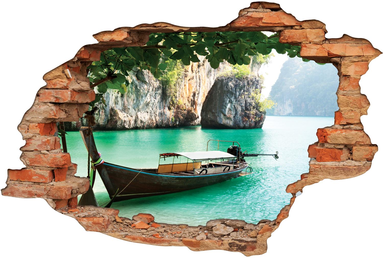 Stickers trompe l 39 oeil 3d bateau pas cher - Miroir trompe l oeil ...