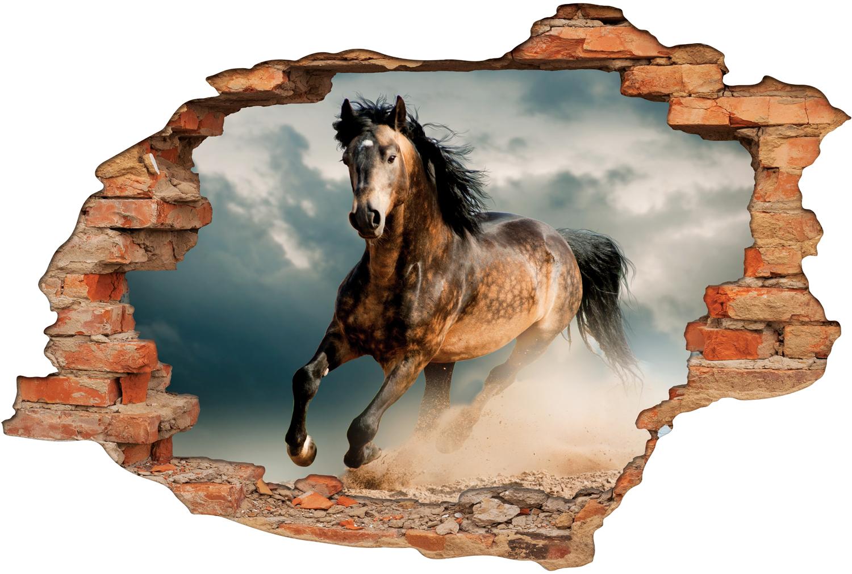 stickers trompe l 39 oeil 3d cheval 3 pas cher. Black Bedroom Furniture Sets. Home Design Ideas