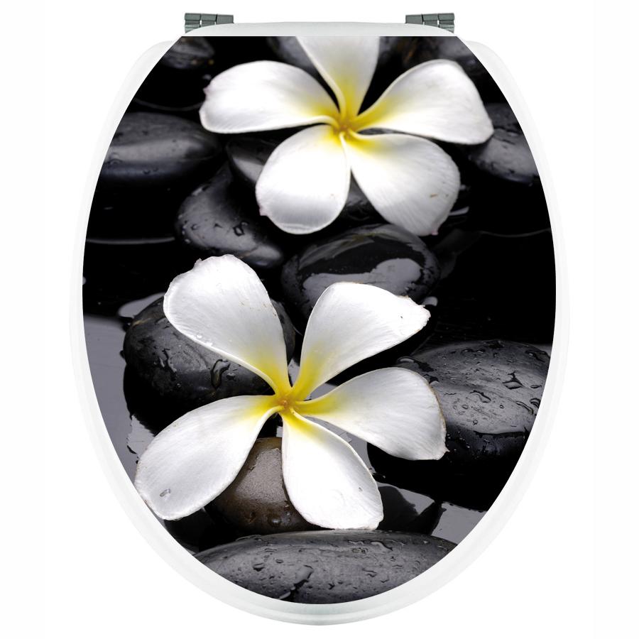 Stickers wc fleur sur galet pas cher for Galet blanc jardin pas cher