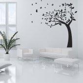 Adesivo Murale albero farfalle
