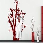 Adesivo Murale Appendiabiti bambù