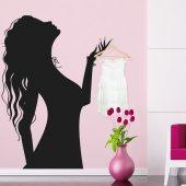 Adesivo Murale Appendiabiti donna