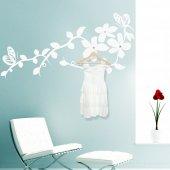Adesivo Murale Appendiabiti fiore farfalla