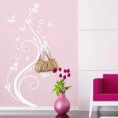 Adesivo Murale Appendiabiti fiore farfalle
