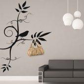 Adesivo Murale Appendiabiti fiori uccello