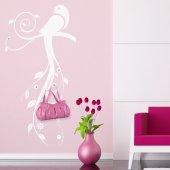 Adesivo Murale Appendiabiti uccello fiori