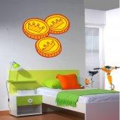 Adesivo Murale bambino 3 monete d'oro