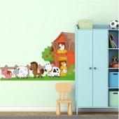 Adesivo Murale bambino animali della fattoria