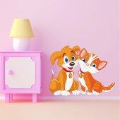Adesivo Murale bambino cane e gatto