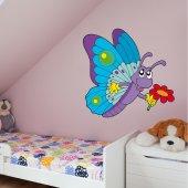 Adesivo Murale bambino farfalla fiore