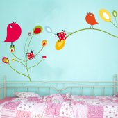 Adesivo Murale bambino fiori uccelli