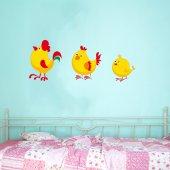 Adesivo Murale bambino gallo gallina pulcino