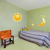 Adesivo Murale bambino luna e sole