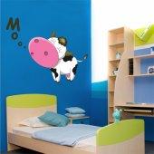 Adesivo Murale bambino mucca