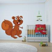 Adesivo Murale bambino scoiattolo