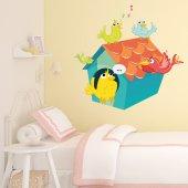 Adesivo Murale bambino uccelli