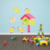 Adesivo Murale bambino uccello e farfalle