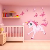 Adesivo Murale bambino unicorno farfalle