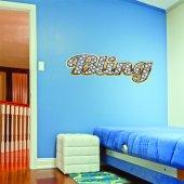 Adesivo Murale bling gold strass