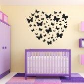 Adesivo Murale cuore farfalle