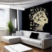 Adesivo Murale donna fiori design