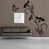 Adesivo Murale fiore farfalla