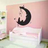 Adesivo Murale gatti luna