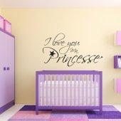 Adesivo Murale 'I love you princesse'
